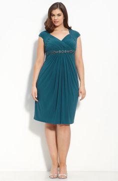 Adrianna Papell Embellished Cap Sleeve Dress (Plus)