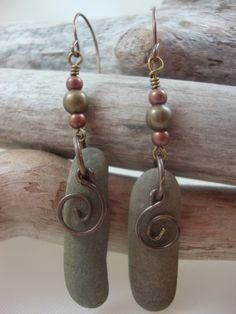 Lake Ontario rock earrings