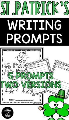 Patrick's Day writing for elementary grade. Have your students complete these writing pages for St. Writing Activities, Learning Resources, Classroom Activities, Activities For Kids, Cover Pages, Writing Prompts, St Patricks Day, Booklet, Coloring Pages