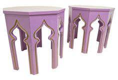 Lilac Moroccan-Style Side Tables, Pair | The Final Touch | One Kings Lane
