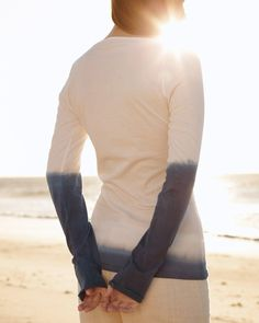 Dye the sleeves and the bottom of a long sleeved shirt for a stylish gift that's fun to make.