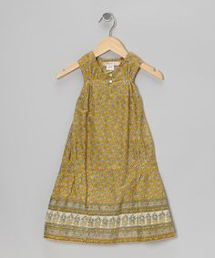 Take a look at this Green Indian Hand-Block Pin Tuck Dress - Toddler & Girls by textures on #zulily today!