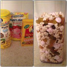 Baby Trail Mix Puffs, yogurt melts, raisins and I added Cheerios too!!