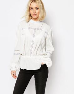 Gestuz | Gestuz Kastania Blouse with Lace Detail at ASOS