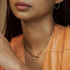 Necklace, Vilde deguy.no Gold Necklace, Elegant, Jewelry, Design, Fashion, Pink, Classy, Moda, Gold Pendant Necklace