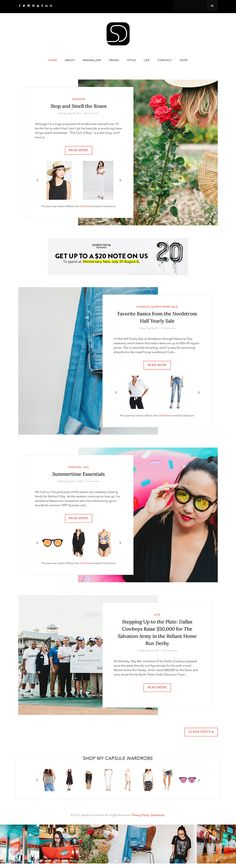 Minimalist WordPress Design for fashion & lifestyle blog featuring apposition post styling (zig zag), custom affiliate link fields, and display advertising space.