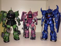 Bandai MG MS-06J Zaku, MG MS-06S Zaku II (Char's) and MG MS-06B Gouf - airbrushed