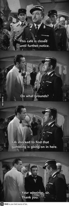 Cafe is closed -- favorite lines from Casablanca Casablanca Quotes, Casablanca Movie, Casablanca 1942, Golden Age Of Hollywood, Classic Hollywood, Old Hollywood, Classic Movie Stars, Classic Movies, Funny Scenes
