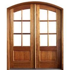 DSA Doors Tiffany TDL 6LT 6/8 E-17 Pre-hung Arch Top Mahogany TDL 6-Lite Double Entry Doors
