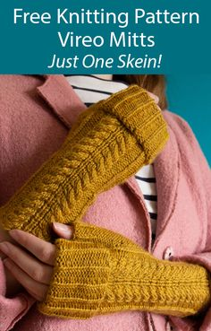 One Skein Fingerless Mitts Knitting Patterns - In the Loop Knitting Beginner Knitting Patterns, Knitting Stiches, Christmas Knitting Patterns, Knitting Designs, Free Knitting, Knitting Hats, Easy Knitting Projects, Easy Sewing Patterns, Bag Patterns To Sew