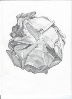 Drawing Tutorial Crumpled Paper Drawing - pencil - Pencil drawing for sketchbook for Drawing I class 3d Drawing Tutorial, Pencil Drawing Tutorials, Drawing Ideas, Art Drawings Sketches, Pencil Drawings, Drapery Drawing, Sketchbook Assignments, Observational Drawing, Crumpled Paper