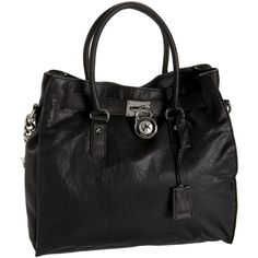 Michael Kors Hamilton Large NS Tote Black Leather ($338) ❤ liked on Polyvore featuring bags, handbags, tote bags, purses, accessories, purse pouch, hand bags, leather handbags, leather hand bags and handbags totes