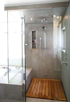 Gray bathroom, wood shower floor, separate bathtub