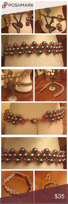 Elegantly Handmade Beaded choker with Earrings Elegantly Handmade Beaded choker with matching earrings. Color is Gray and peachy beads. New and Never been used. See measurements in photos attached here. Silver hardware. No hold and no trade. Handmade Jewelry Necklaces