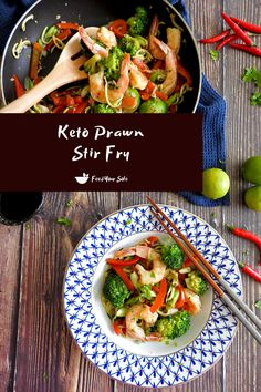 A delicious, simple and easy keto prawn stir fry. Juicy prawns flavoured with fresh lime, garlic, chilli and coriander on a bed of low-carb courgette noodles.  #keto #prawn #shrimp #stirfry #dinner #zoodles