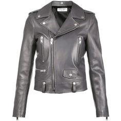 Saint Laurent classic leather biker jacket (14.050 BRL) ❤ liked on Polyvore featuring outerwear, jackets, grey, moto jacket, gray moto jacket, real leather jackets, gray jacket and leather straight jacket