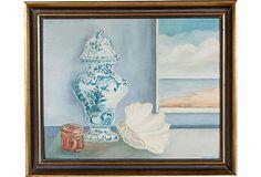 Oil Painting, Shell & Urn Still Life signed Dubenhorst