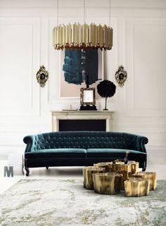 Living Room Ideas | Maree Sofa from Brabbu, Eden Side Tables from Boca do Lobo, Brubeck Suspension Hanging Lamp from DelightFULL See more: https://www.brabbu.com/en/all-products.php