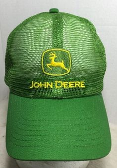 John Deere All Mesh Top Embroidered Green Truckers Hat Snap Back Cap New   eBay