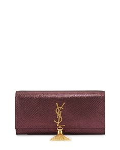 L0KB3 Saint Laurent Monogram Stamped Clutch Bag, Purple