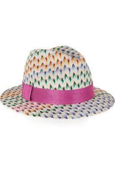 Crochet-knit Panama hat #brimmedhat #women #covetme #missoni