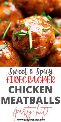 Spicy Chicken Meatballs aka Firecracker meatballs recipe with step-by-step instructions. These spicy and sweet twice-baked chicken meatballs are super easy to make and tastes delicious as an appetizer or in a meal! Baked Chicken Meatballs, Spicy Meatballs, Chicken Meatball Recipes, Firecracker Meatballs, Firecracker Chicken, Appetizers For Party, Appetizer Recipes, Lunch Recipes, Cooking Recipes