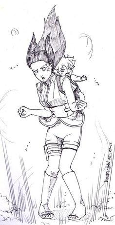 Uzumaki Hinata and Uzumaki Boruto. Anime Naruto, Naruto Uzumaki, Sarada E Boruto, Kakashi Sensei, Naruto Cute, Naruto Girls, Hinata Hyuga, Anime Manga, Naruhina
