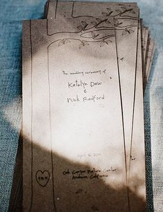 Rustic ceremony programs - could be made into fans too!   nickkatewoodsy at bridesmaid.com