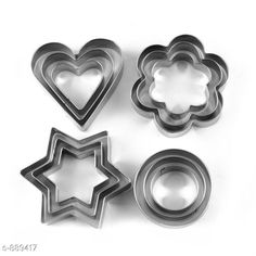 Checkout this latest Cookie Cutters Product Name: *Stainless Steel Cookie Cutter ( Pack Of 12 ) * Material: Stainless Steel Pack Of: Multipack Country of Origin: India Easy Returns Available In Case Of Any Issue   Catalog Rating: ★4 (1856)  Catalog Name: Trendy Kitchen Products Vol 3 CatalogID_103878 C137-SC1595 Code: 491-889417-753