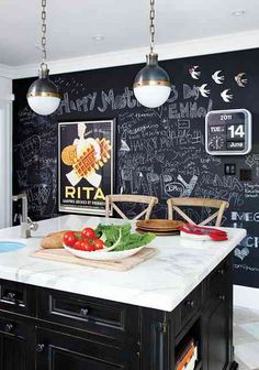 black kitchen island and chalkboard wall combo is kind of awesome