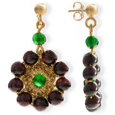 Handmade Vintage Crochet Drop Flower Earrings With Garnet Gemstones & Green Agate Garnet Jewelry, Garnet Earrings, Gemstone Earrings, Drop Earrings, Macrame Earrings, Crochet Earrings, Pearl Gemstone, Garnet Gemstone, Vintage Earrings