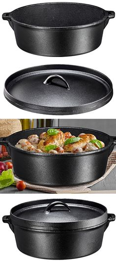 Bruntmor Pre-Seasoned Cast Iron Dutch Oven with Flanged Lid Iron Cover, for Campfire or Fireplace Cooking, Flat Bottom Dutch Ovens, Cast Iron Dutch Oven, It Cast, Flat, Cooking, Cover, Kitchen, Bass, Kitchens