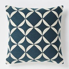 """!!! Crewel Circlet  Pillow Cover 20"""" - Blue Lagoon #westelm. Machine wash , 100% cotton. White areas are embroidery; raised slightly."""