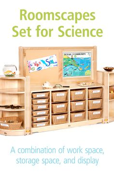 This combination of storage and display gives kids plenty of opportunity for exploration. The handy totes underneath can store materials or work-in-progress right where you need it. Tap through for options and details, and to find more preschool science and discovery area ideas! Science Area Preschool, Science Ideas, Preschool Classroom, Science Art, Art Classroom, Classroom Setting, Soothing Colors, Smart Storage, Discovery