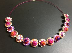 Button Necklace Spotted Wooden Choker  Orange Purple Brown Pink £12.50
