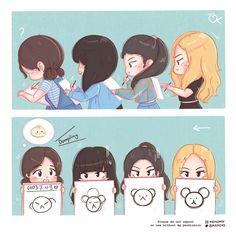 Blackpink Memes, Funny Kpop Memes, Girl Cartoon, Cartoon Art, Black Pink Kpop, Park Bo Young, Kpop Drawings, Blackpink Photos, Blackpink Fashion