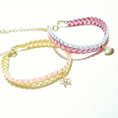 Ribbon Lei Bracelets☆ #リボンレイ#ブレスレット#可愛い#カラフル#ハワイ#シェル#シースター#ヒトデ