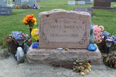 James Dean, grave and tombstone, Park Cemetery, Fairmount, Indiana.