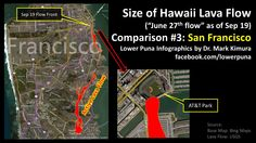 """Infographic showing the 2014 Pahoa lava flow (aka the """"June 27 breakout"""") overlaid on the city of San Francisco."""