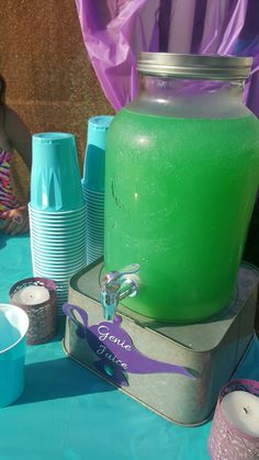 Princess Jasmine birthday party. Aladdin themed party. Arabian Nights. Genie juice made with 1 two liter of sprite, 1 gallon of blue Hawaiian punch, and 1 42 oz can of pineapple juice.