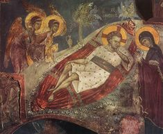 "Icon of Jesus Christ ""O Anapeson"" ( source ) il Cristo Anapesón, Hymn II on the Nativity of Christ, by St. Ephraim the Syrian Blessed be that Child. Byzantine Icons, Byzantine Art, Religious Icons, Religious Art, Tempera, Fresco, Greek Mythology Art, Roman Mythology, Medieval Paintings"