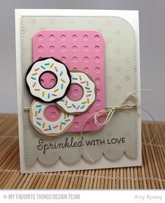 Card donuts sweets treats cake, MFT Donuts and Sprinkles, Donuts Die-namics, MFT Blueprints 22 Die-namics, Polka Dot Stencil - Amy Rysavy Diy Paper, Paper Crafts, Mft Stamps, Creative Cards, Greeting Cards Handmade, Homemade Cards, Birthday Cards, Card Making, 1