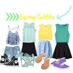 4 Spring Outfit Ideas by camiella on Polyvore featuring TIBI, Alice + Olivia, Oscar de la Renta, Converse and Vans