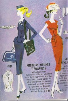 My Barbie loved wearing the Sheath Sensation. I wanted to be an airline stewardess when I grew up, but my Barbie didn't own the American Airlines outfit. Vintage Barbie, Vintage Toys, Sky Adventure, Badge Creator, Come Fly With Me, Mid Century Art, Air France, Barbie Friends, Barbie World