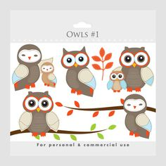 Owls clipart  whimsical owls baby owls by WinchesterLambourne, $2.90