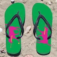 Softball Dog on Green Flip Flops - Kick back after a softball game with these great flip flops! Fun and functional flip flops for all softball players and fans.