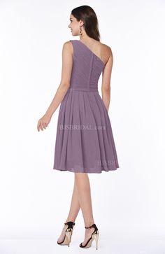 Mauve Bridesmaid Dress - Simple A-line One Shoulder Chiffon Knee Length Short Plus Size Maxi