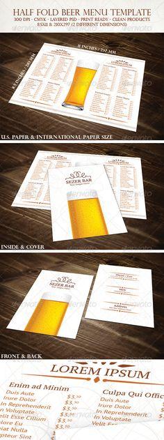 Multi-purpose Restaurant Tri-fold Menu Lunch menu, Adobe photoshop - half fold brochure template