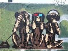 3 monkeys see no evil, hear no evil, speak no evil - Camperdown Sydney street art by neeravbhatt, via Flickr
