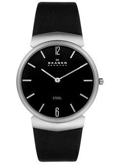 Skagen Men's Steel Collection Stainless Steel Black Leather Watch #695XLXLB